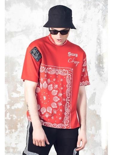 XHAN Kırmızı Etnik Desenli T-Shirt 1Kxe1-44753-04 Kırmızı